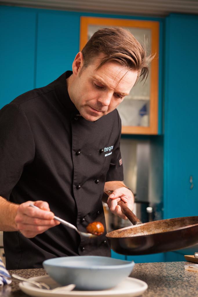 Ben plating a meatball
