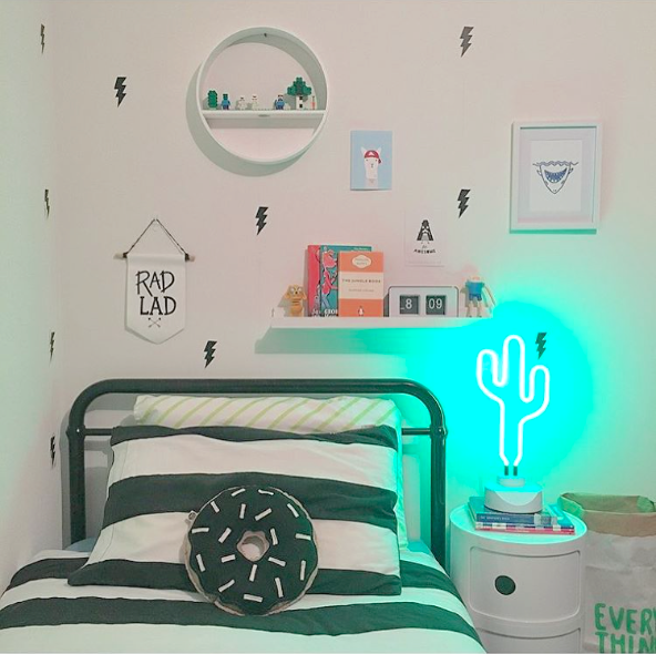Brighten up your kids room, neon, neon lights, kids room, kids, kids interiors, design, design blog, electric confetti, The Home Scene blog, styling, cactus, boys rooms, The Little Interior